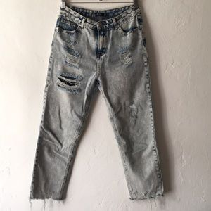 "Denim - High waisted ""girlfriend"" style jeans"